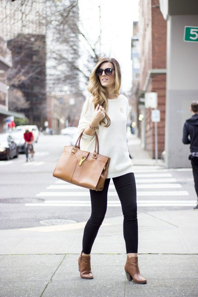 Cozy and chic. Cream chunky sweater, black cigarette skinny and cognac bag and booties