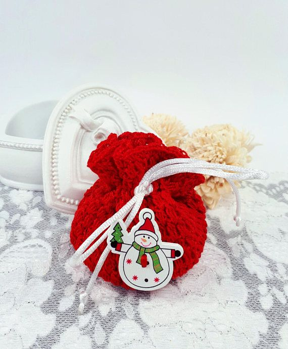 Red Christmas jewelry pouch Christmas gift bag red crochet