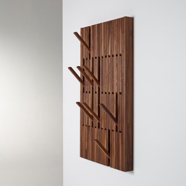 Luxury Interior rectangle brown wooden coat racks with pull out brown wooden hook hanging on white
