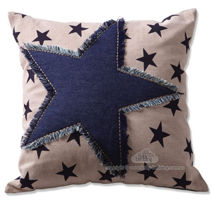 Pillow ~ Star print with denim star applique