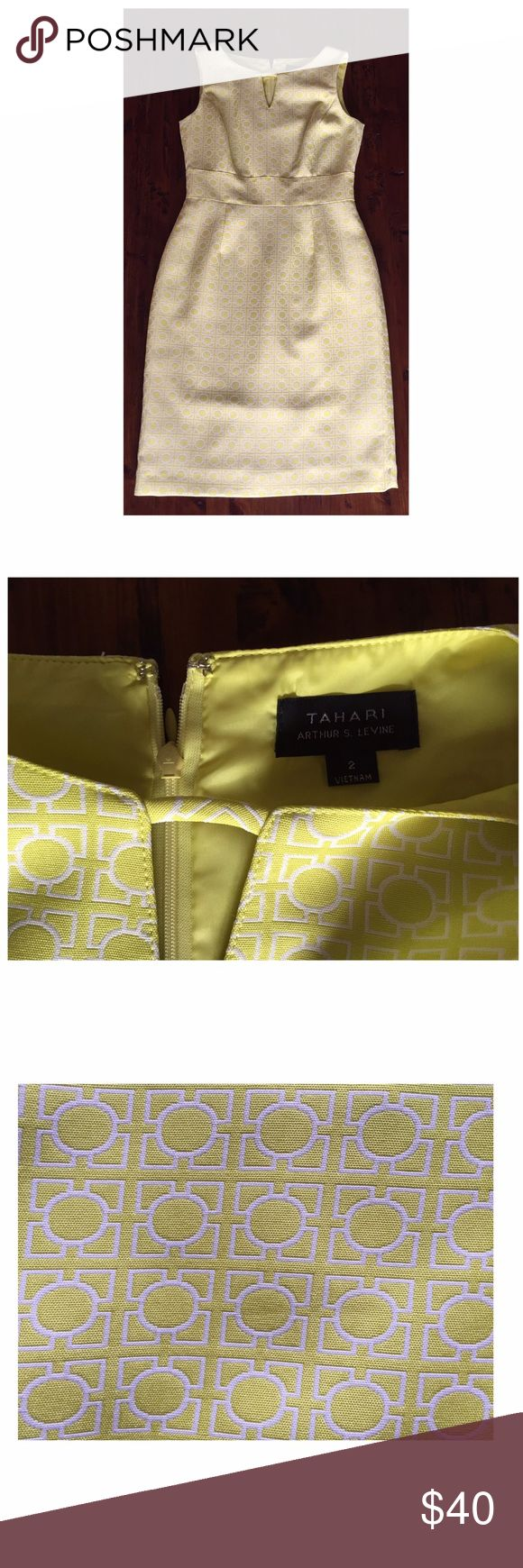 Chartreuse Tahari Sheath Dress Beautiful yellow green colored dress! Jacquard material, true color shown in close up pic. Wore one time for a wedding and in excellent condition. Smoke free home. No trades, please. Tahari Dresses Midi
