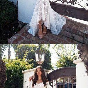 Mermaid Ivory Wedding Dress Vintage Wedding Dress With Sleeve M4898