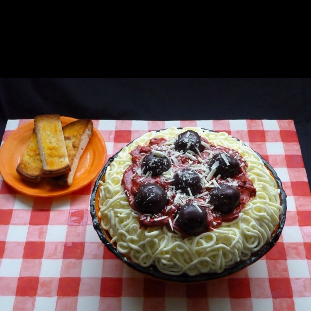 Spaghetti and meat balls.... Cake
