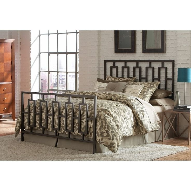 Miami Complete Bed with Squared Tube Metal Duo Panels and Geometric Design (78 - 75 to 84 Inches - 50 to 59 Inches - Full - 53.63), Brown