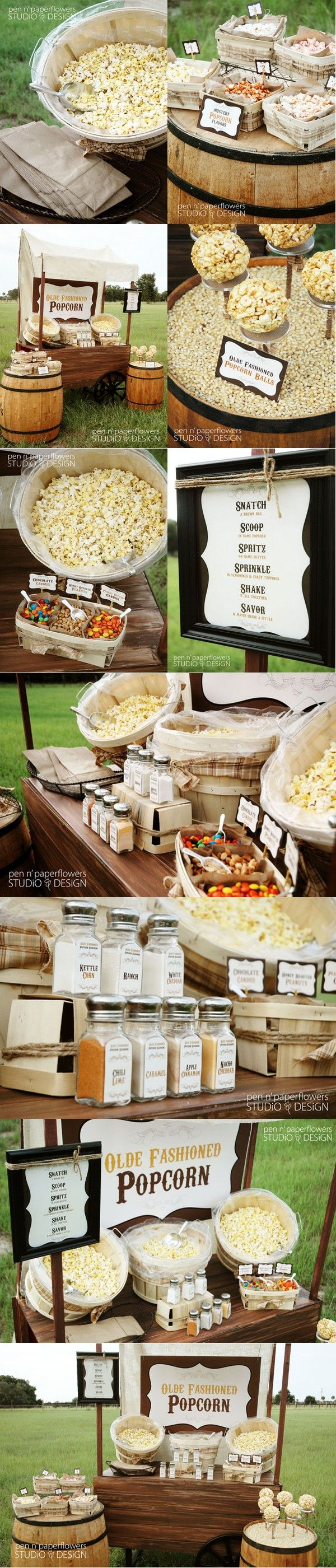 """Thursday Inspiration {Rustic Popcorn Bar}"" -- shown for a wedding, but would be fun for almost any outdoor event..."