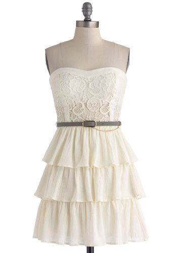 Dressed to Beguile Dress - Cotton, Sheer, Short, Solid, Lace, Ruffles, Tiered, Belted, Party, Sheath / Shift, Strapless, Sweetheart, Cream, Daytime Party, Graduation, Summer