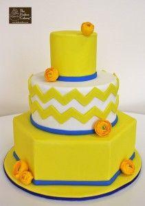 yellow ranuculus chevron cake