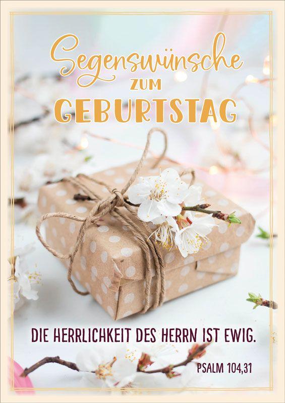 Doppelkarte Packchen Mit Kirschbluten Bibelverse Geburtstag