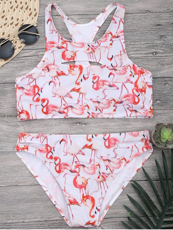 $21.49 Flamingo Cutout Racerback High Neck Bikini Set - WHITE M