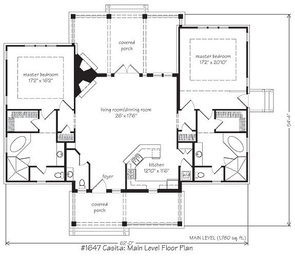 casita floor plan reduce one master bed to make guest room remove second master - House Plans With Attached Casita