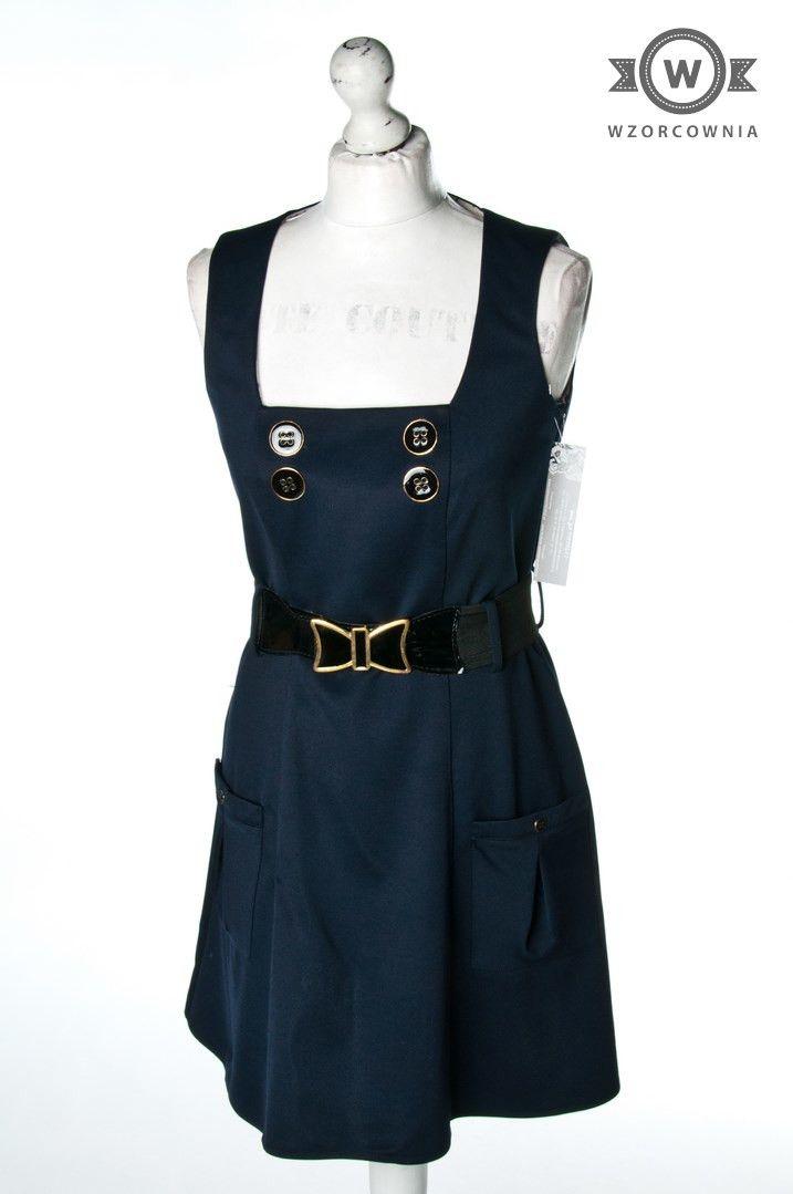 Granatowa Sukienka Z Paskiem Wzorcownia Odzie U Ywana Sklep Internetowy