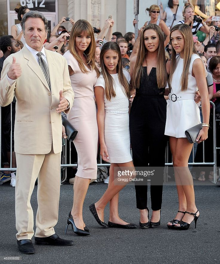 Frank Stallone, Jennifer Flavin, Sistine Rose Stallone, Sophia Rose Stallone and Scarlet Rose Stallone arrive at the Los Angeles premiere of 'The Expendables 3' at TCL Chinese Theatre on August 11, 2014 in Hollywood, California.