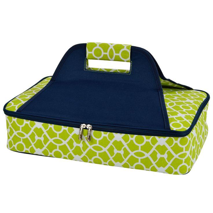Features:  -Thermal shield insulation.  -Stylish fabric and trim.  -Extra large size for multiple uses.  Color: -Blue.  Product Type: -Food storage container.  Set Size: -1.  Shape: -Rectangle.  Dishw