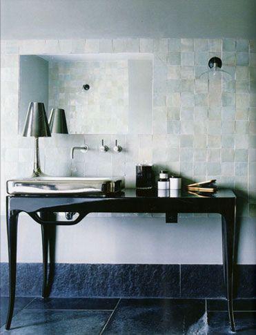 Bathroom designed by Maria Speake, white tile is zellige n.2 Blanc