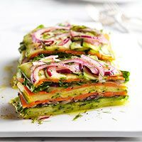 Stacked Summer Vegetable Salad  http://www.bhg.com/recipe/stacked-summer-vegetable-salad/