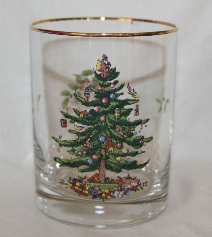 SPODE 14oz Christmas Tree Glasses Double Highball 4 in Box Cocktails Drinks EUC