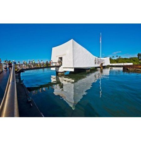 Reflection of a memorial in water USS Arizona Memorial Pearl Harbor Honolulu Hawaii USA Canvas Art - Panoramic Images (36 x 24)