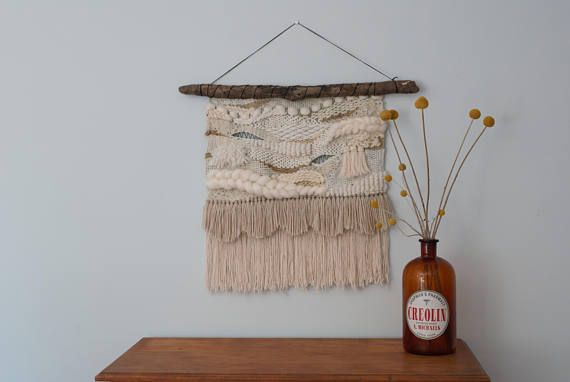 Large Neutral Wall Weaving Loom Wall Hanging Tapestry