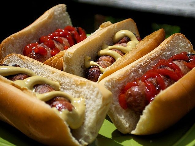 Bacon-Wrapped Hot Dogs. Summer hot dogs on the grill are exciting ...