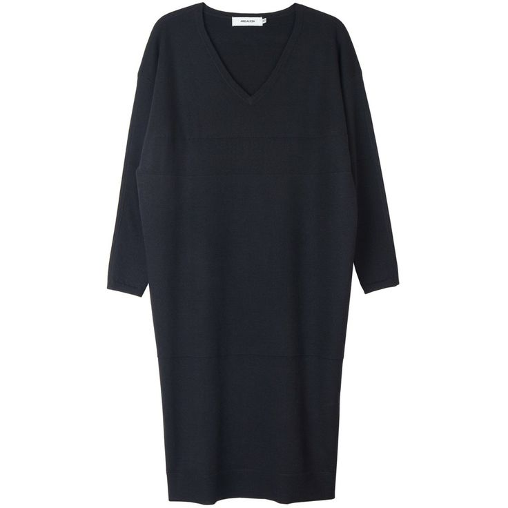 Long V-neck dress in wool and cashmere | Arela