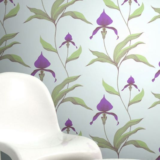 Orchid Wallpaper Light green wallpaper with large illustrated orchid design in baby pink and khaki.