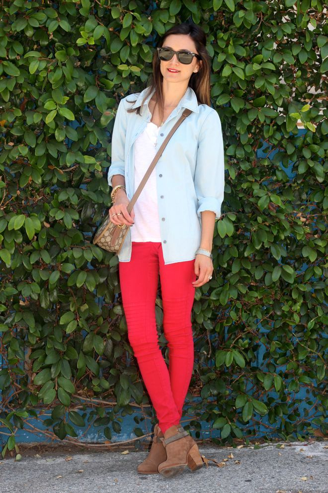 Comfy Casual: Red Skinny, Red Jeans, Casual Fall Outfits, Comfy Casual, Casual Outfits, Outfits Al, Simple Outfits, Bright Pants, Red Pants