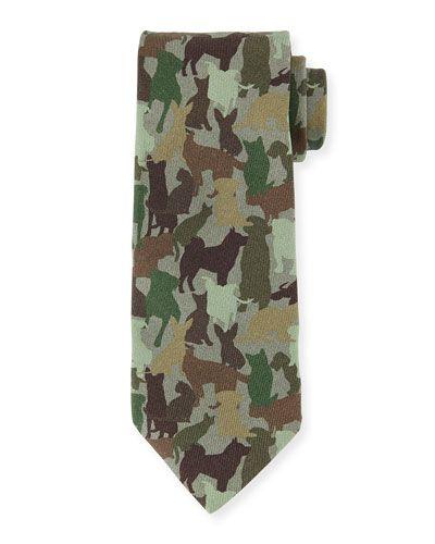 Etro+Silk+Dog+Camo+Print+Necktie+Green+Multi+ +Neckwear+and+Accessory