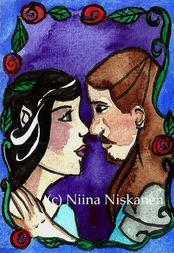 Immortal Love ACEO Watercolor ACEO Painting Silmarillion Beren and Luthien Silmarillion illustration Fantasy and Fairytale Watercolor ACEO
