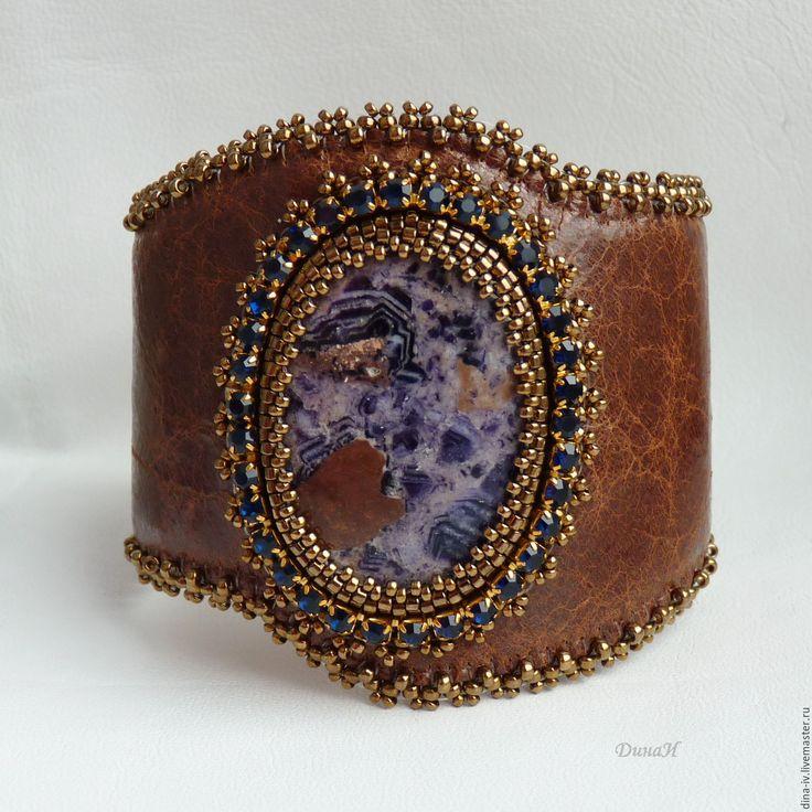 Купить Браслет Наталия Натуральный камень кожа Синий фиолетовый коричневый - тёмно-синий, браслет