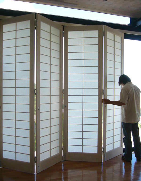 Folding sliding shoji screens by ADK Cabinetworks