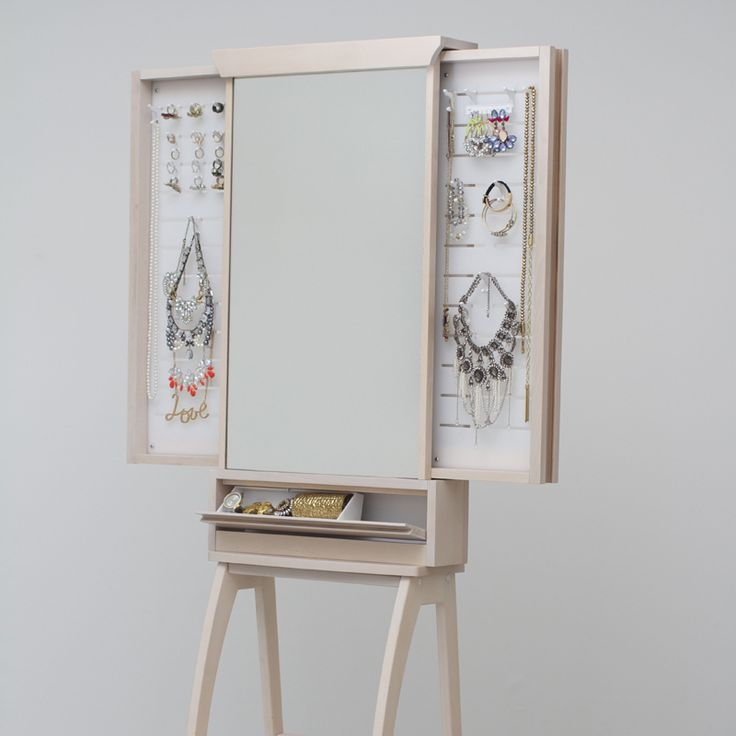 Natural oak furniture in natural colour standing design - Butterfly Mirror