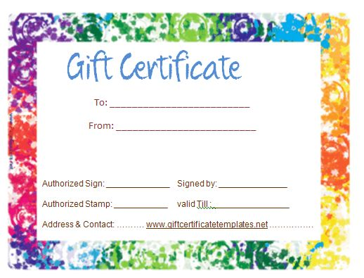 Colorful border gift certificate template | Beautiful Printable ...