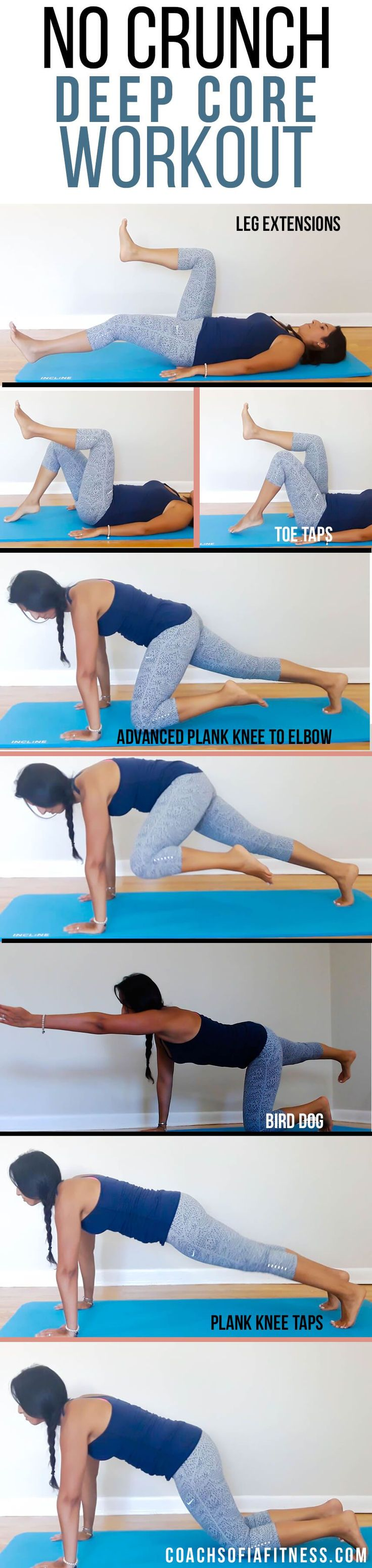 Video showing amazing No crunch core exercises that will target your inner deep abdominal muscles that needs strengthening to alleviate lower back pain, and pelvis instability. Your inner core is the spine safety belt and without it, we won't be able to a