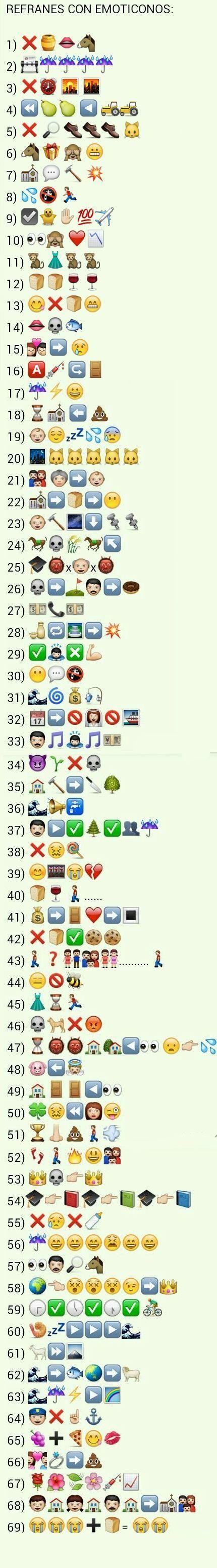 Un listado de refranes con emoticonos para jugar con ellos en clase #TwitterELE #SpanishTeachers