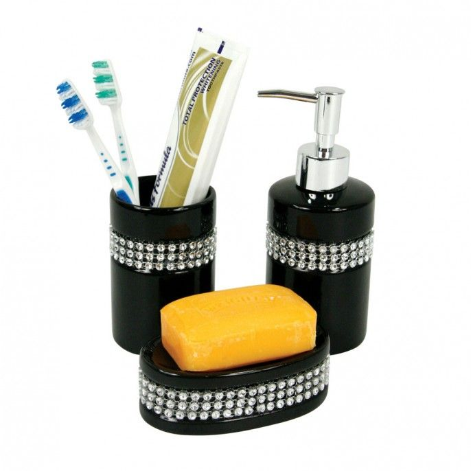 3 Piece Diamante Bathroom Set | Poundstretcher