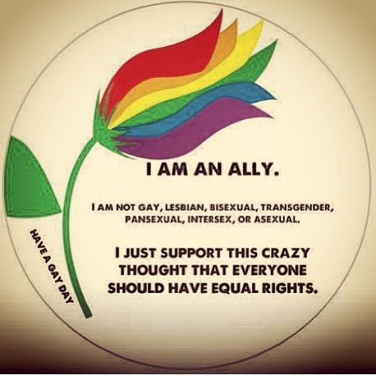 Far more than an Ally, I'm Gay with a capital G (Pansexual & Genderqueer/Trans* if you need specifics). But this is amazing and I love it. <3 Thank you to every ally out there. We need you all more than ever and you are helping to make the world a better place. We wouldn't have gotten as far as we have so far without you. Thank you.