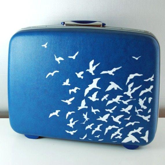 Vintage Upcycled COBALT BLUE Suitcase - Hard sided  Samsonite - Carry on Luggage - Hand painted