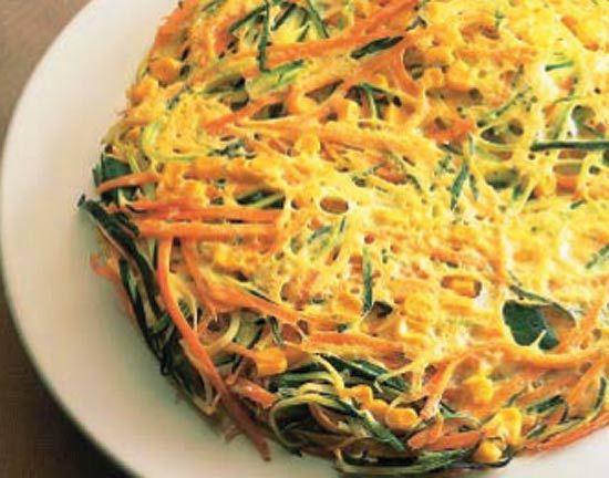 Tortilla de verduras #cuisine #recipes Ingredientes: 1 calabacín grande 3 zanahorias 1 lata de maíz dulce (200 g) 1 cebolla dulce 2 huevos 3 c.s. de aceite de girasol Koipesol Sal Pimienta Salsa de soja  Preparación: Lavar los calabacines y cortarlos en juliana. Pelar las zanahorias y cortarlas de la misma manera. Pelar y picar la cebolla muy fina. Escurrir el maíz. Poner todas las verduras en una ensaladera. Batir los huevos, salpimentar, verterlos sobre las verduras y mezclar bien.