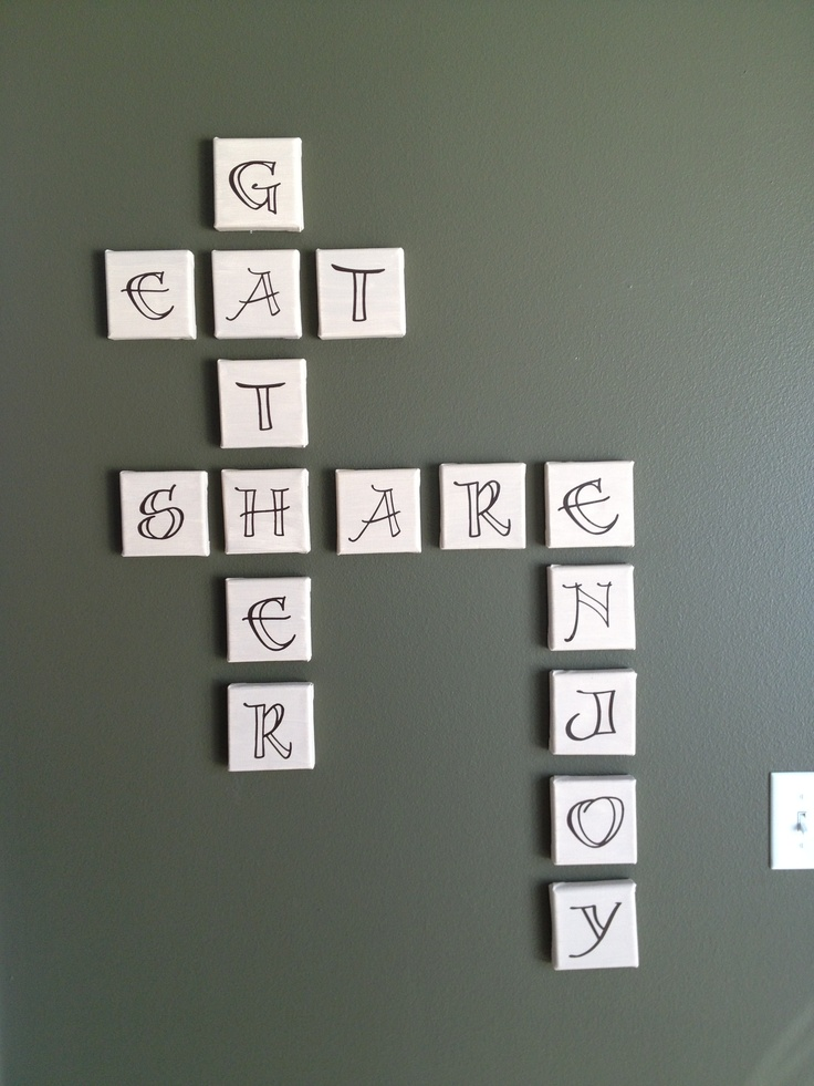 4x4 tiles from michaels vinyl letters cut on my cricut