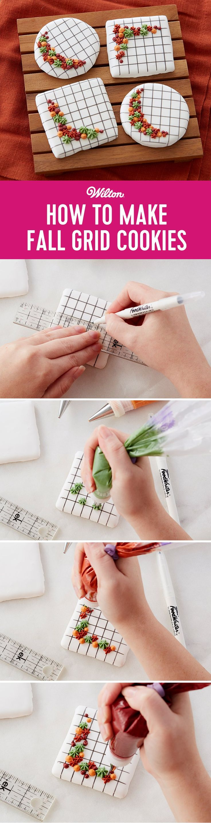 "How to Make Fall Grid Cookies - It's easy to make fall grid cookies! The grid pattern is easily drawn on the royal icing covered cookies using a Wilton FoodWriter edible color marker and a ruler. Add the seasonal-hued icing dots and stars piped in a flowing ""C"" curve for trendy contrast. #diy #fallbaking #cookies #wiltoncakes"