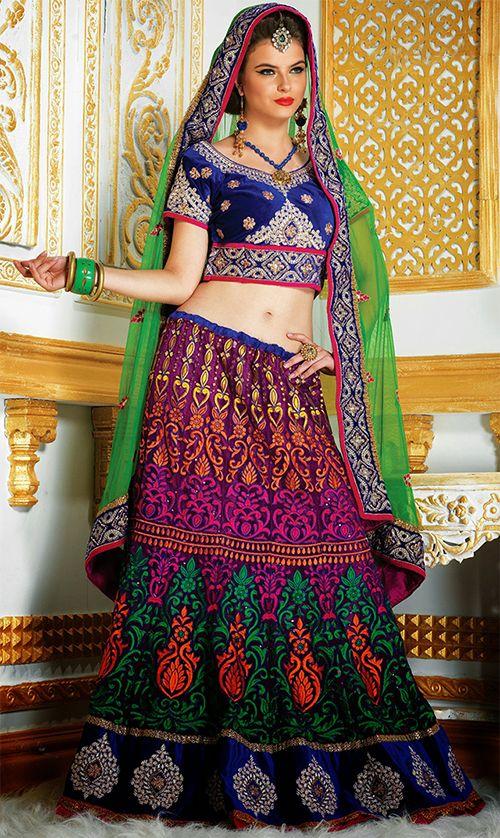 Blue and Purple Lehenga Choli - GOSH Fashions