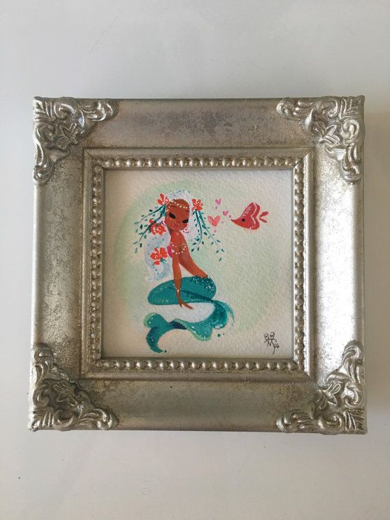 ORIGINAL valentine mint mermie painting