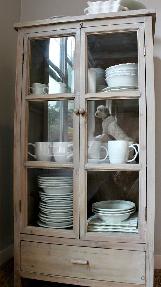 storage for extra dishes {new freestanding glass door cabinet