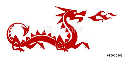 """Vector: Red Dragon. Stylized silhouette of a """"chinese"""" dragon"""