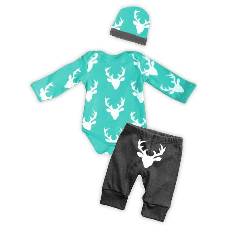 Teal gray deer boy onesie pant set (comes with onesie and pants only), make sure to add the optional matching accessories (Beenie-Hat, Blanket, Bib and Car Seat Canopy). Available in sizes: Newborn, 0