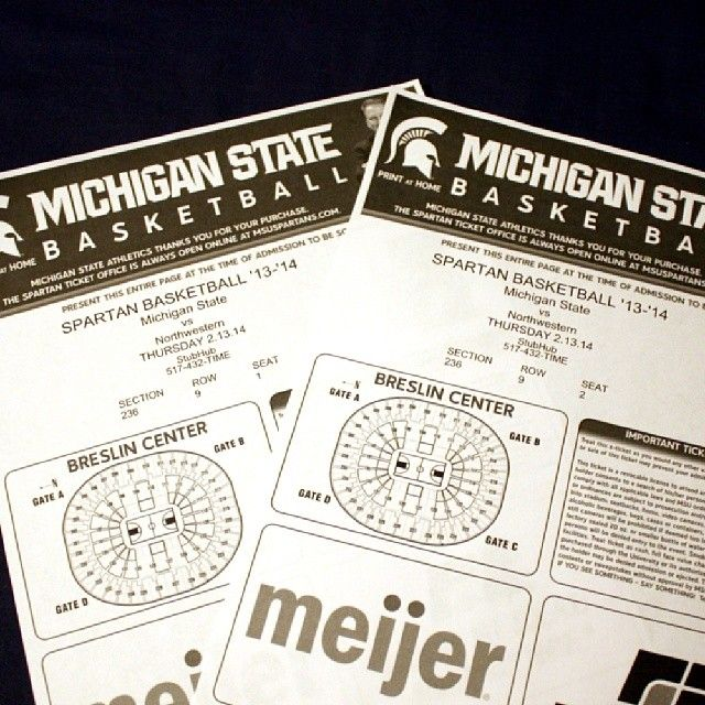Got tickets for @melanie_goerke and I to go to our first MSU basketball game on Thursday. Can't wait! #msu #michiganstate #basketball #gogreen #Padgram
