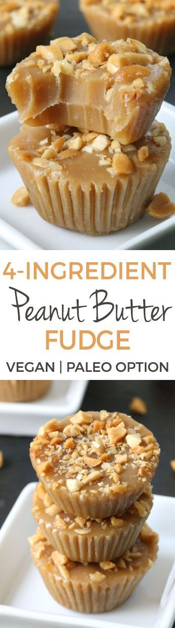 This 4-ingredient peanut butter fudge only takes a few minutes to make and is naturally vegan, gluten-free, grain-free, and dairy-free (with a paleo option). It's also sweetened with maple syrup, which gives it a slightly caramel-like texture!