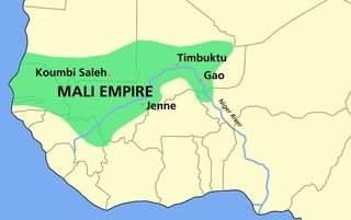 This is a map of the Mali Empire. It was thriving from 1230 to almost 1600. Other names for the Mali Empire were the Mandingo Empire and the Manden Kurufa.  Sundiata Keita became the first king of the Mali Empire after building up an army and taking over the previous king of the Ghana Empire