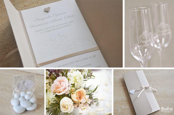 Wedding stationary with costum embossing and glasse with engrave/ partecipazioni di nozze con embossing personalizzato e flûte con incisione