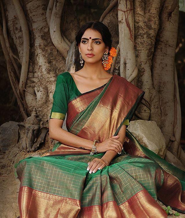 Handwoven Kanjivaram silk sarees for festive opulence; available now on jaypore.com